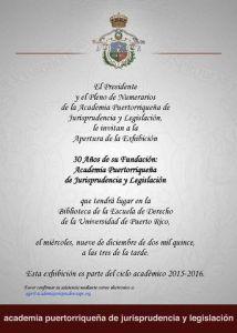 Inauguran exhibición de aniversario Academia Puertorriqueña de Jurisprudencia y Legislación