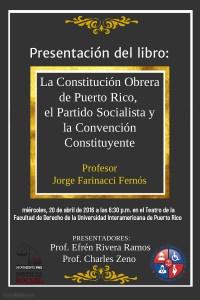 Presentación de nuevo libro sobre la Constitución Obrera de Puerto Rico