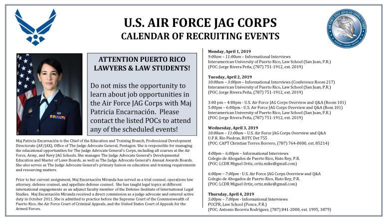 Calendario de reclutamiento del U.S. Air Force JAG Corps en Escuelas y Facultades de Derecho en Puerto Rico