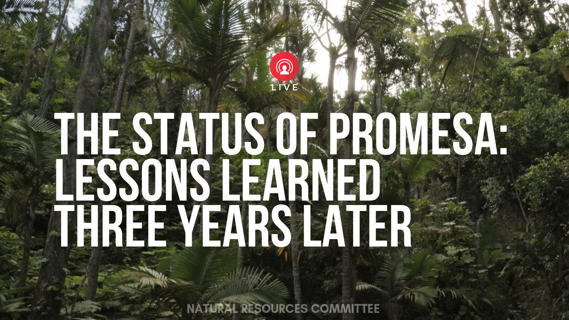 [Hearing] The Status of the PROMESA Act: Lessons Learned Three Years Later