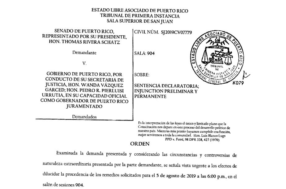 [ORDEN] Senado de Puerto Rico v. Gobierno de Puerto Rico