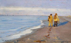 Peder S. Kroyer – Evening atmosphere with two fishermen at Skagen Beach