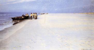 Peder Severin Kroyer - Fishermen on the Beach at Skagen