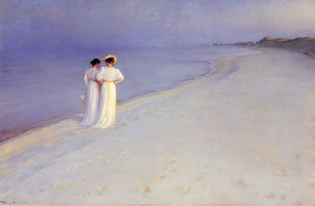 Peder Severin Kroyer - Summer Evening at Skroger Beach 1893
