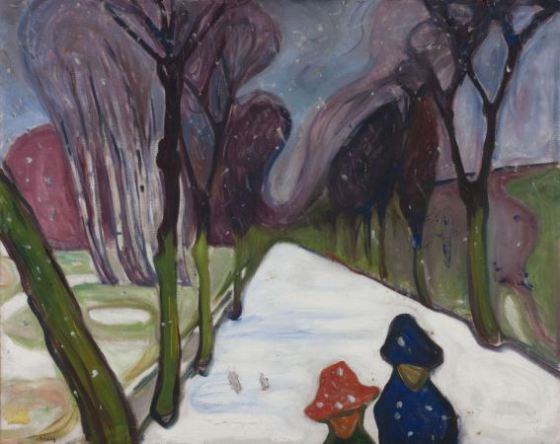 Edvard Munch - New-snow-in-the-avenue-1906
