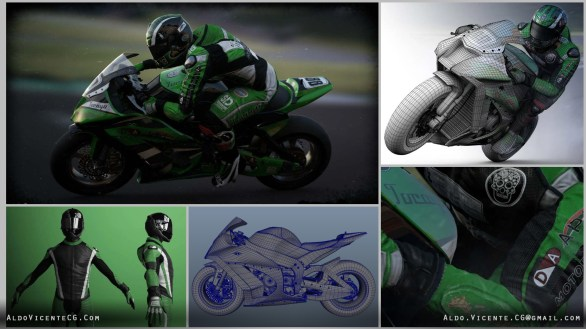 SUPERBIKE RACER: Modeled in Maya. Textured in Photoshop. Rendered in Vray and Mental Ray. This piece was featured in a Texturing and Shading tutorial for issue #75 of 3DArtist Magazine