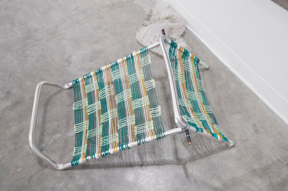 "Lawn Chair, (Aldrich), oil and silicone on found object, 34"" x 24"" x 12"", 2015."