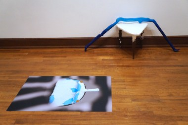 Blue and Table (Aldrich + Weissberger), 2017. Mop Figure [Drape] (Aldrich), paper and acrylic, 2017. Three Legged Table (Weissberger), plaster, insulation foam, furniture legs, stickers, tape, 2017. Striped Aperture (Weissberger), digital photograph/Photo Tex adhesive backed print, 2016.