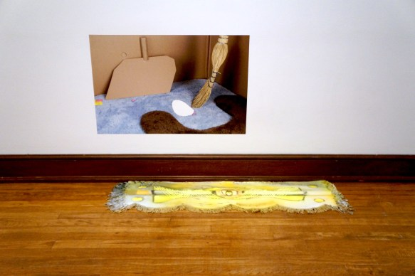Low Sweep (Weissberger), digital photograph/Photo Tex adhesive backed print, 2016, and Yellow Push Broom (Aldrich), oil and enamel on found object, 2017.
