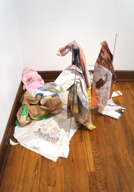 Rag Pile (Aldrich + Weissberger), 2017. Various Clothing Fragments (Weissberger), unique sewn, digital photograph/print on fabric, wire stand, 2016. Plaster Rags (Aldrich), pigment and plaster wrap on canvas, 2017.