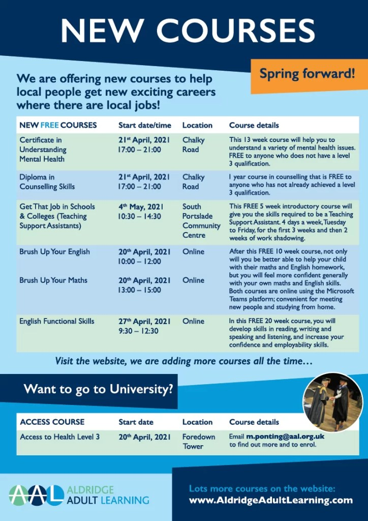 Aldridge Adult Learning summer courses