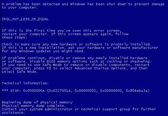 10 Penyebab Komputer Menjadi Blue Screen