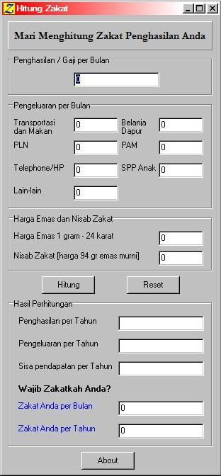 Aplikasi Penghitung Jumlah Zakat