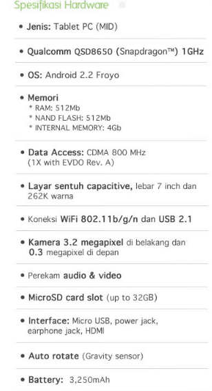 Spesifikasi Harga AHA Pad Tablet PC
