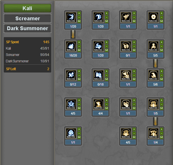 Skill Build Dark Summoner