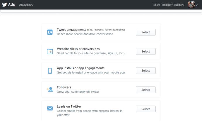 Percobaan Menggunakan Campaign Twitter Ads