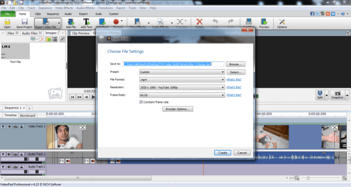 Proses Rendering Videopad Editor