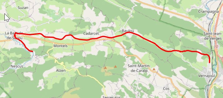 map showing the area from foix to la bastide-de-serou with a red line showing the route