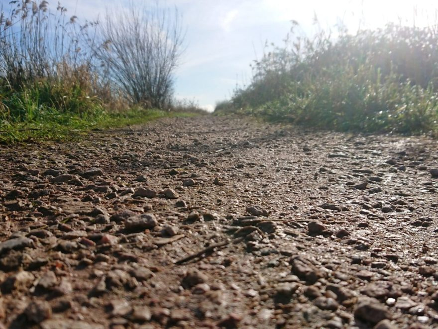The barefoot sub walked along this gravel path in One step at a time is good walking