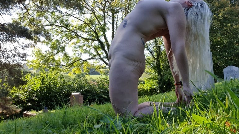 Stronger and more confident doing naked outdoor yoga