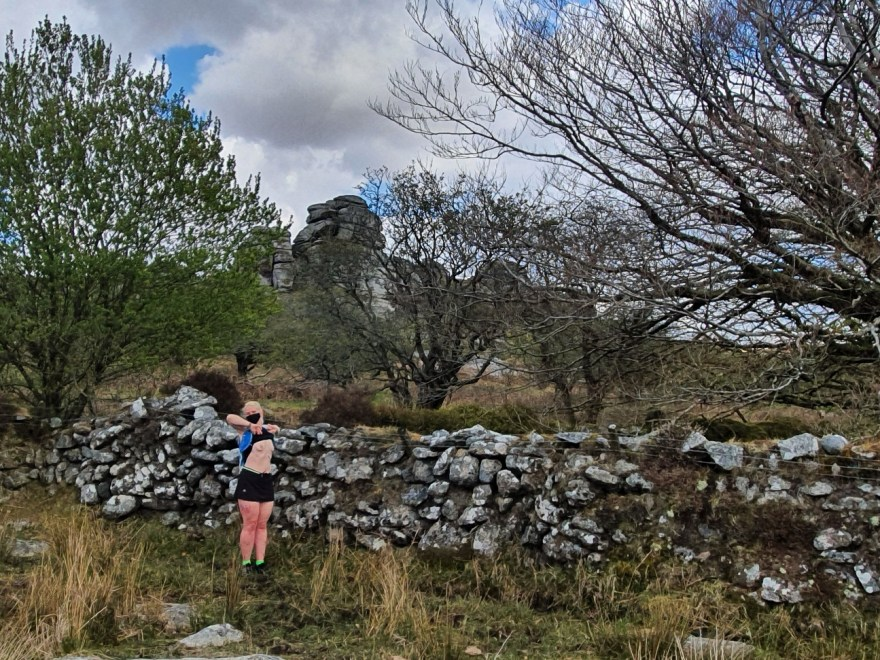 The barefoot sub, topless at a boundary wall and vixen tor.