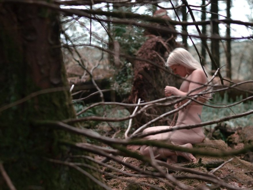 Stairway to heaven header image shows me, a naked blonde woman viewed through the woodland, tying myself up while sat on a mossy tree stump.