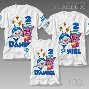Kit 3 Camisetas Baby Shark 001