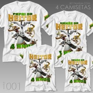 Kit 4 Camisetas Kung Fu Panda 001