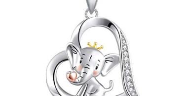 Alea's Deals 70% off Sterling Silver Cute Elephant Holding Love Heart Pendant Necklace for Women