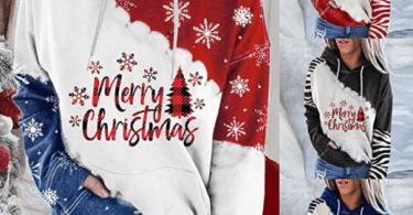 Alea's Deals 70% off Women's Merry Christmas Color Block Hoodies