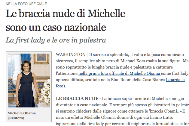 Le braccia nude di Michelle sono un caso nazionale