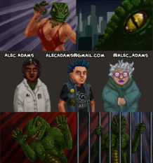 """Art work for the Bad Box Art 2017 Game Jam on Gamejolt. """"Panique: The Reptilian Invasion"""""""