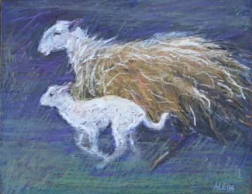 """Two Running by Aleda O'Connor 11"""" x 14"""" SOLD"""