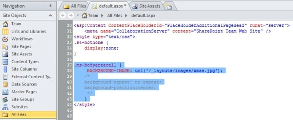 Add a background image and a CSS to page in SharePoint ...