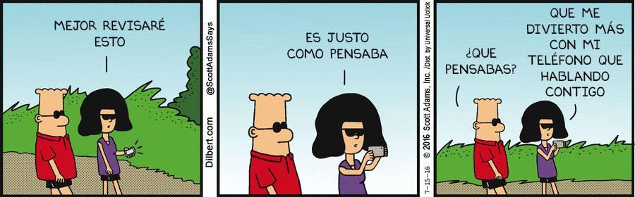 Viñeta de Dilbert sobre las distracciones, por Scott Adams