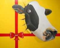 La vaca atada - 80x100 cm - 2015 - Técnica: pintura acrílica s/tela - Alejandro Fidias Fabri