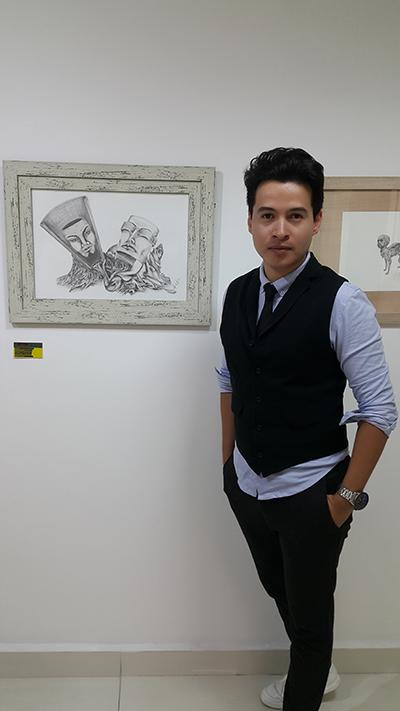 """Alejandro en Exposición de Ascun en el Colegio Mayor de Antioquia con su obra """"Hegel"""""""