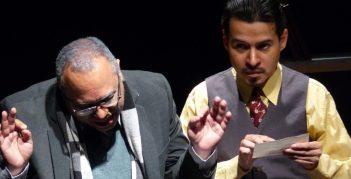 Edwin posada y Alejandro Londoño en la obra Hasta Aquí Llegó