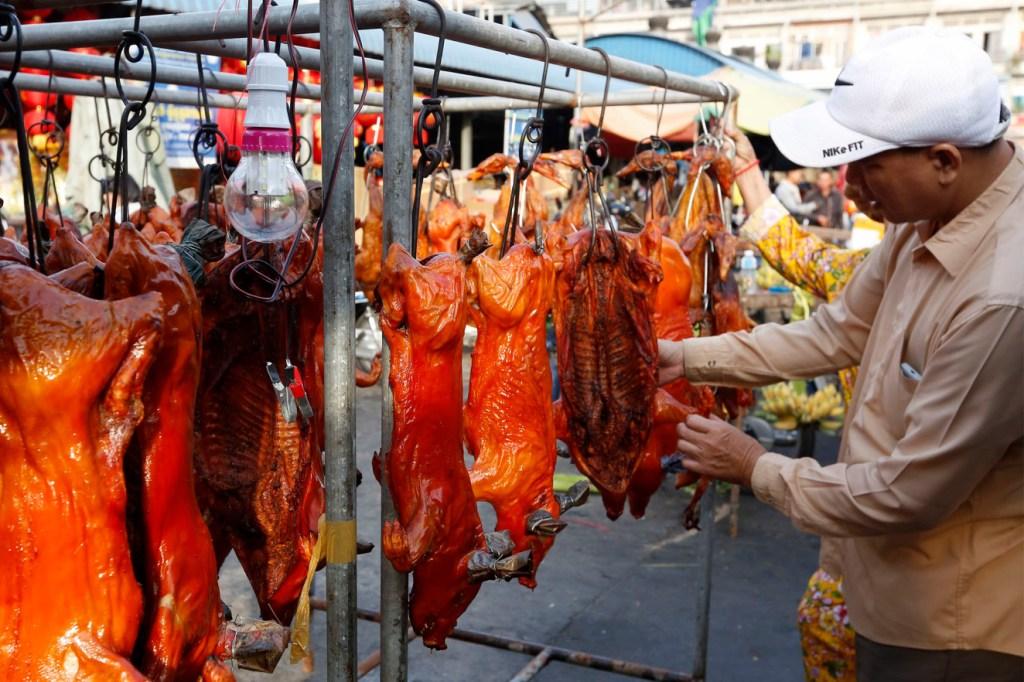 Mercado callejero de animales vivos.