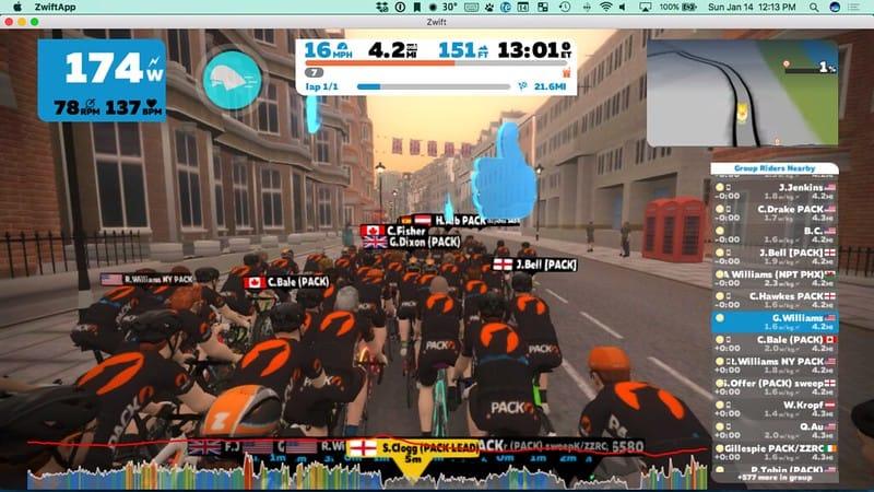 Virtualno kolesarjenje v skupini prijateljev na platformi ZWIFT zaslonski posnetek