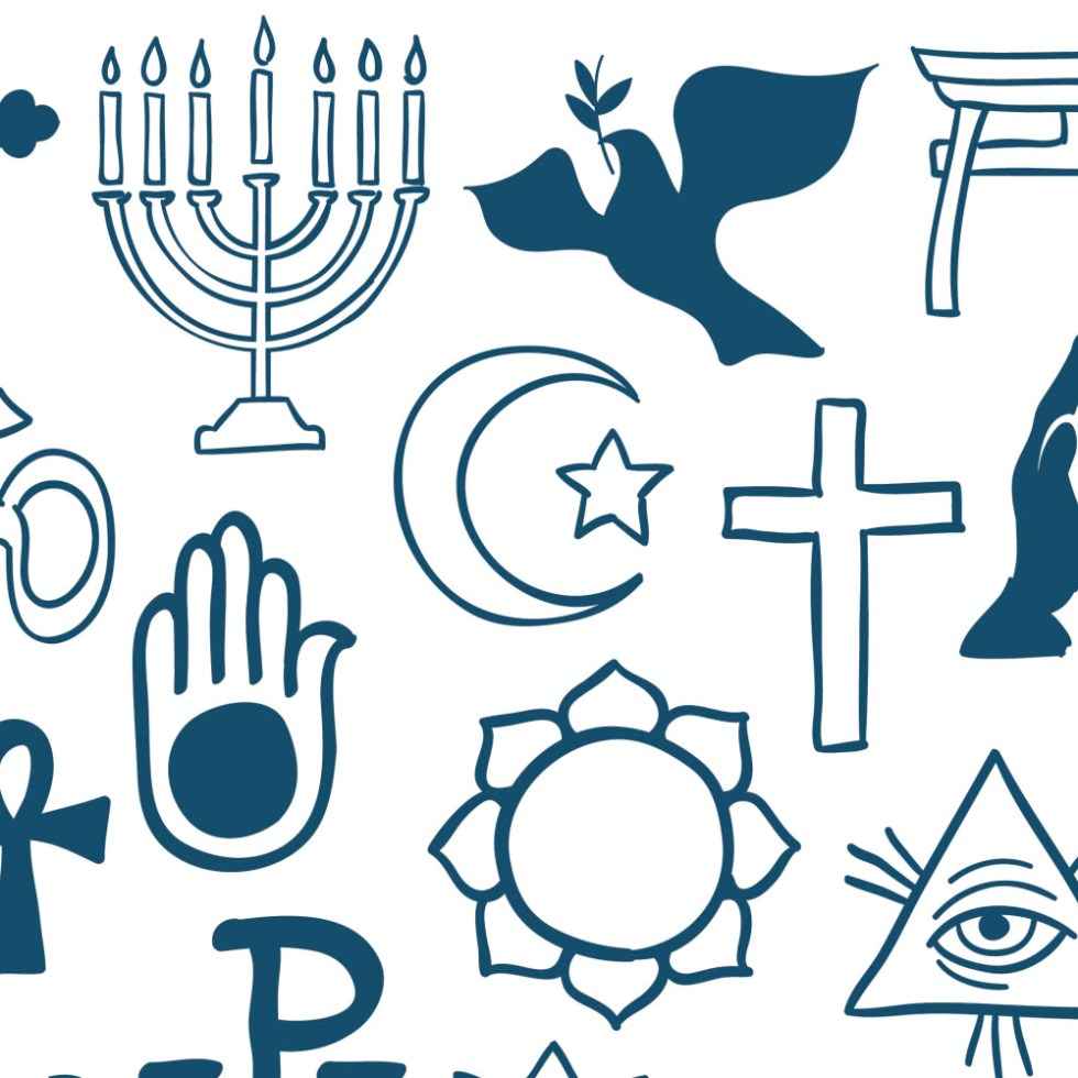 Graphic symbols of different religions on white