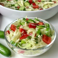 Crunchy Cabbage Salad with Bell Pepper & Cucumber