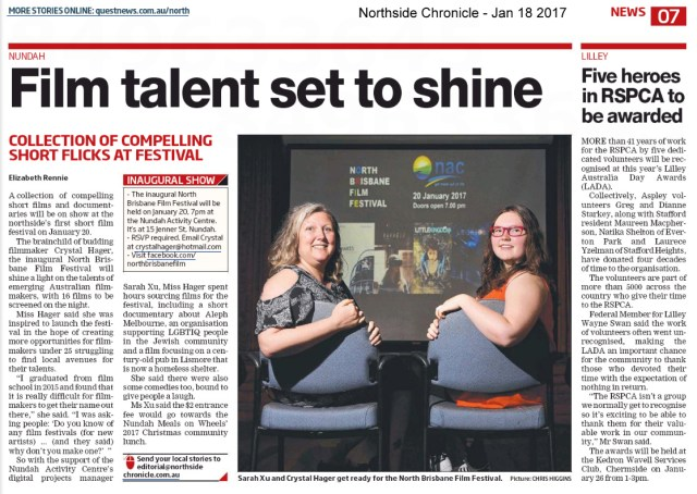 Northside Chronicle - Jan 18 2017 - page 7 - Film talent set to shine