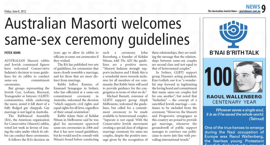 ajn-20120608-p9-Australian Masorti welcomes same-sex ceremony guidelines