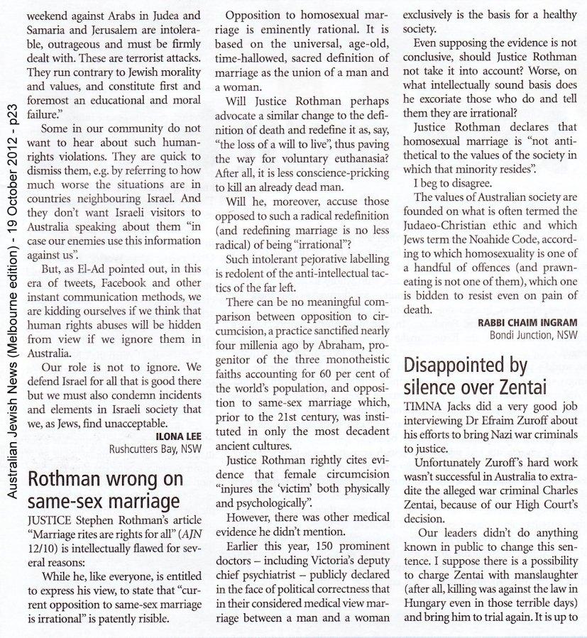 AJN Oct 19 2012 - Letter to Editor - Rabbi Chaim Ingram