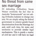 No threat from same sex marriage (1/2)
