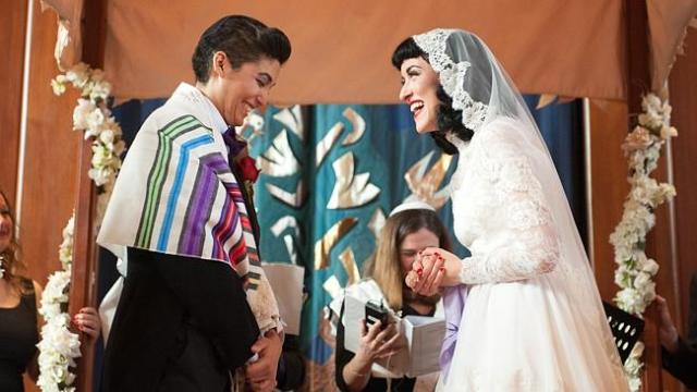 Ilana Gelbart and Krissy Adriaan at their ceremony at Temple Beth. Picture: Supplied