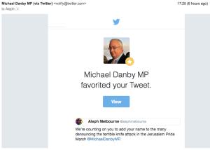 Michael Danby Twitter favourite re Jerusalem attack