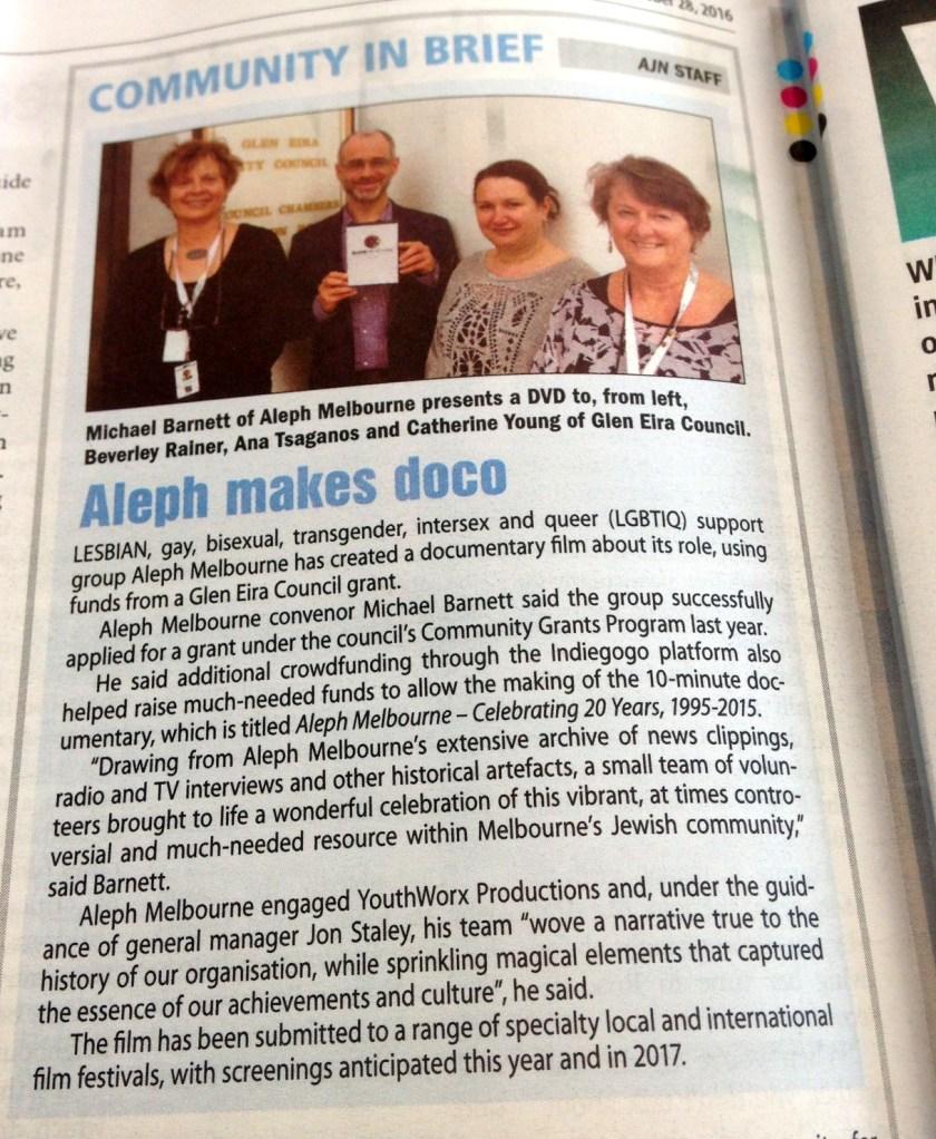 Aleph Makes Doco - Australian Jewish News Oct 28 2016