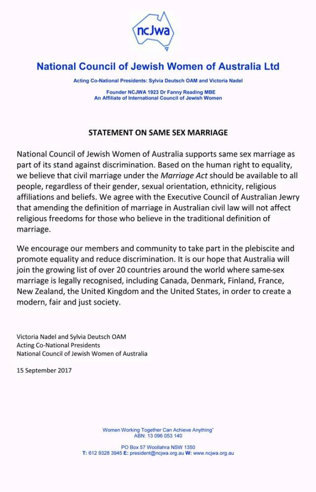 NCJWA Statement on Same Sex Marriage - 15 Sep 2017